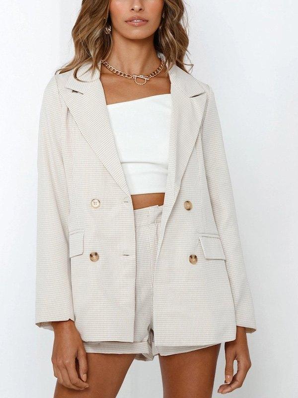 Checkered Long Sleeve Blazer - Apricot M