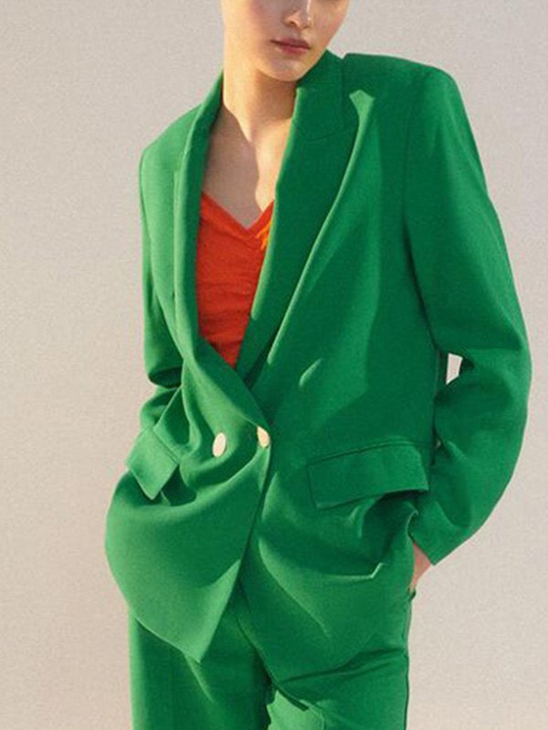 Double Breasted Long Sleeve Blazer - Green L
