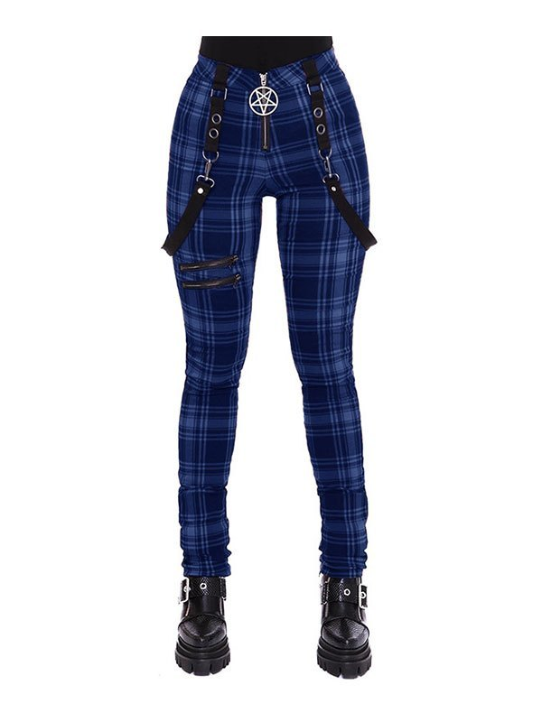 Checkered Print Strap Legging - Blue S