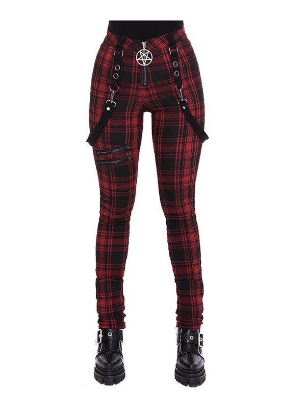 Checkered Print Strap Legging - Red L