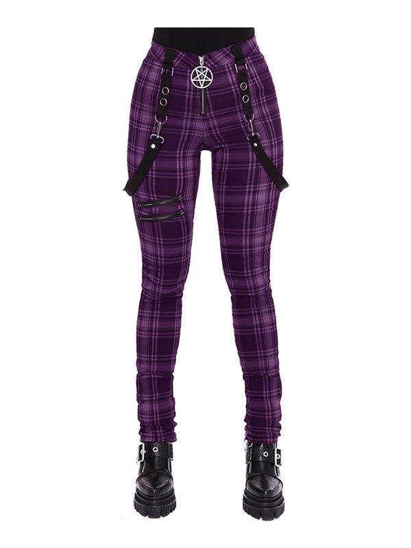Checkered Print Strap Legging - Purple M