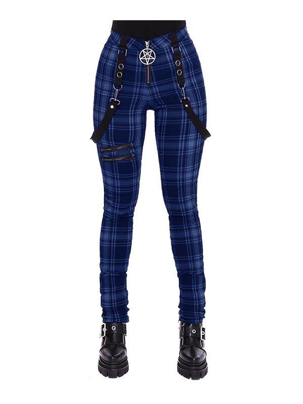 Checkered Print Strap Legging - Blue L