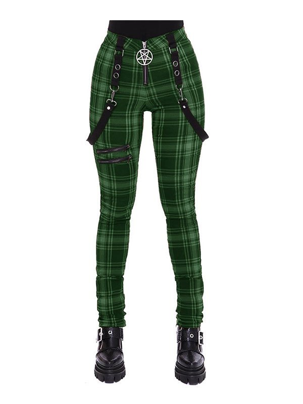 Checkered Print Strap Legging - Green M