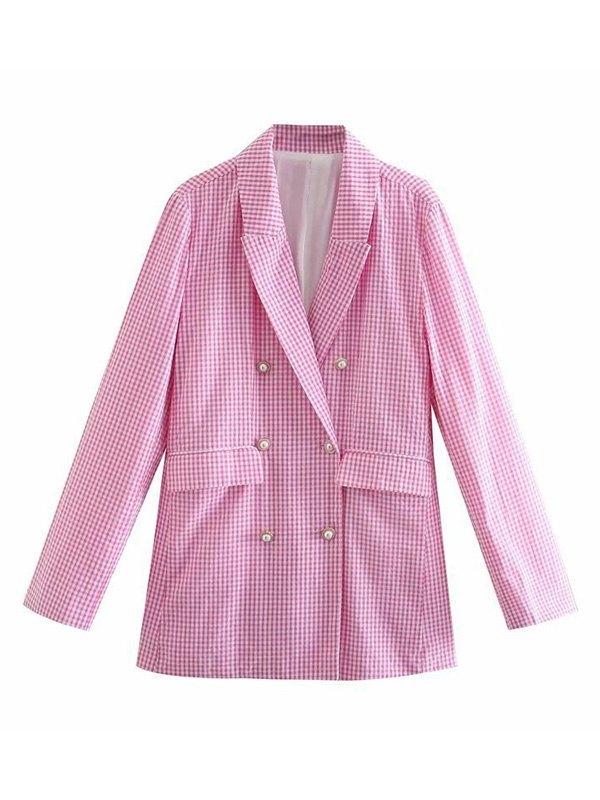 Long Sleeve Checkered Longline Blazer - Pink L