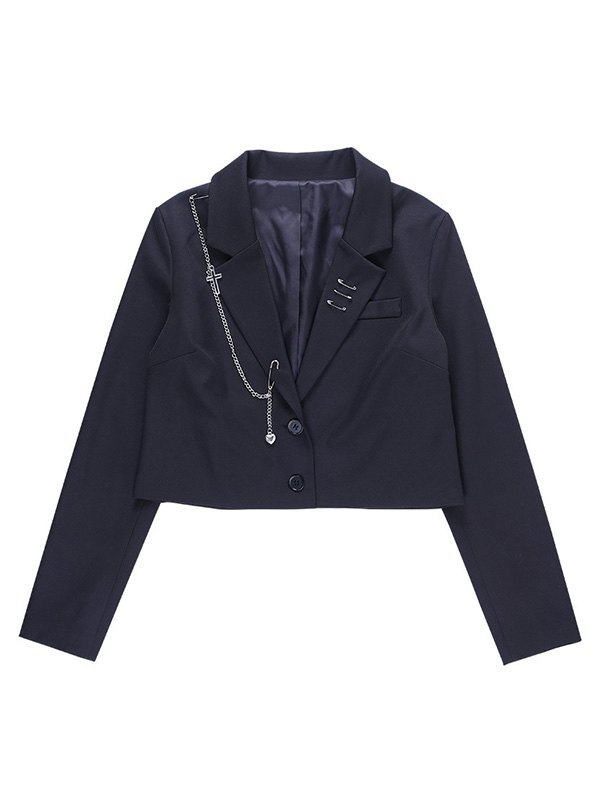 Chain Embellished Crop Blazer - Black L