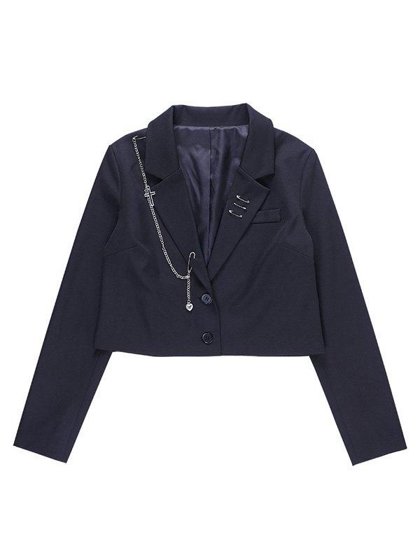 Chain Embellished Crop Blazer - Black S