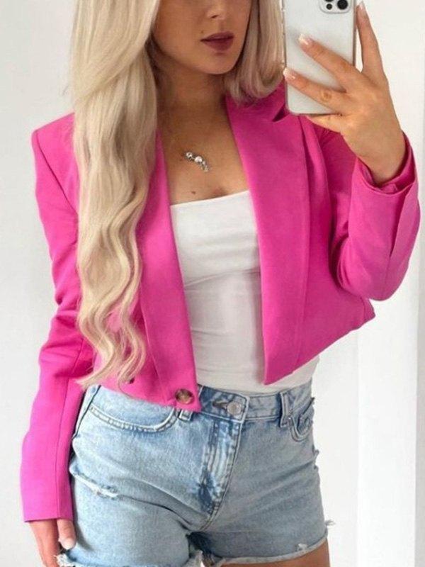 Buttoned Long Sleeve Crop Blazer - Beetroot Purple M