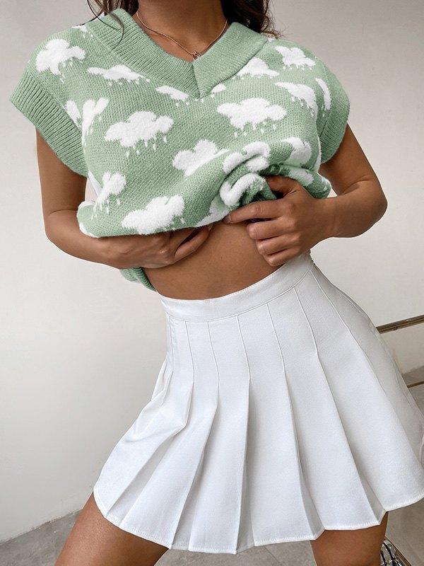 Rainy Day Jacquard Sweater Vest - Green L