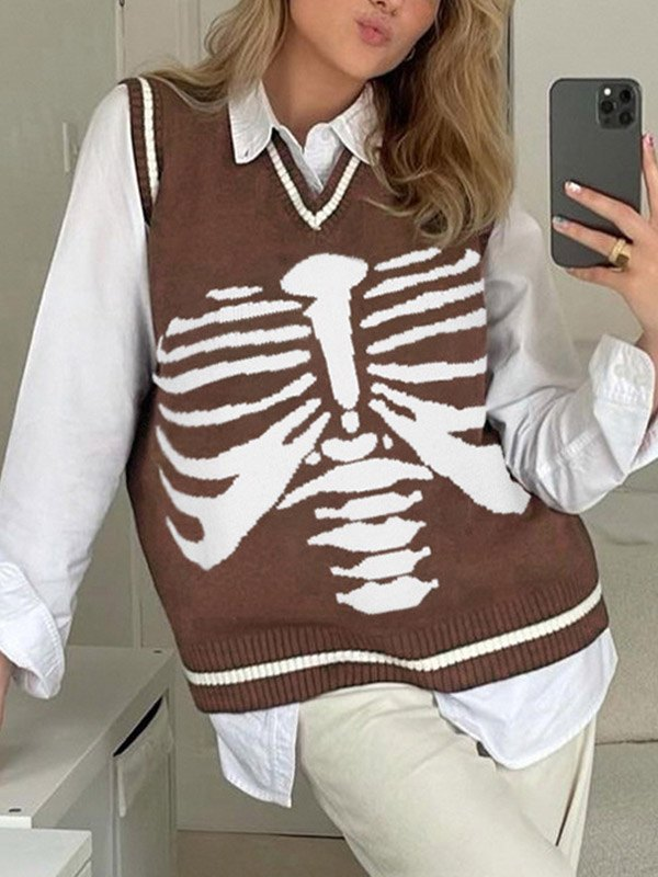 V Neck Skull Sweater Vest - Brown M