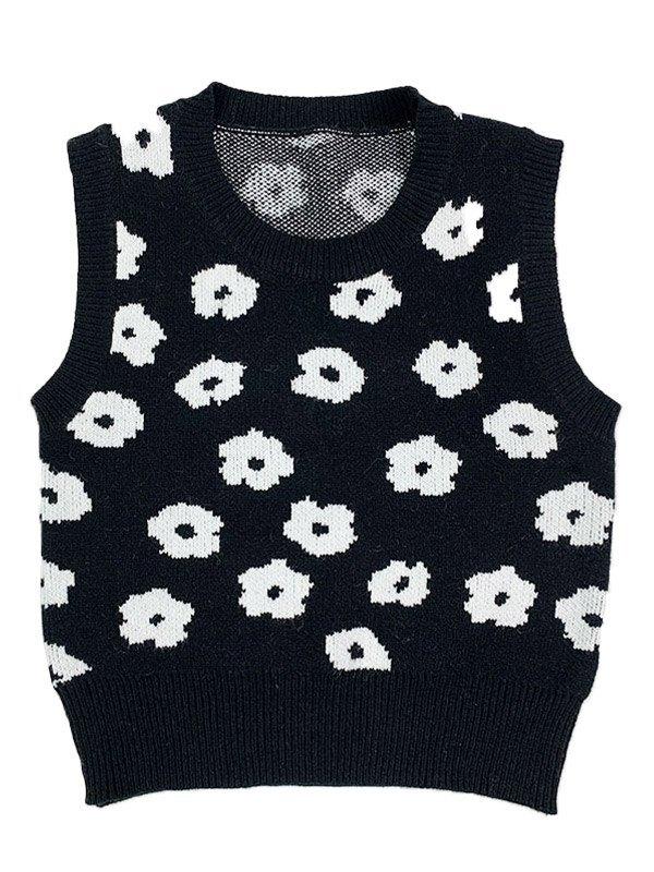 Flower Jacquard Sweater Vest -