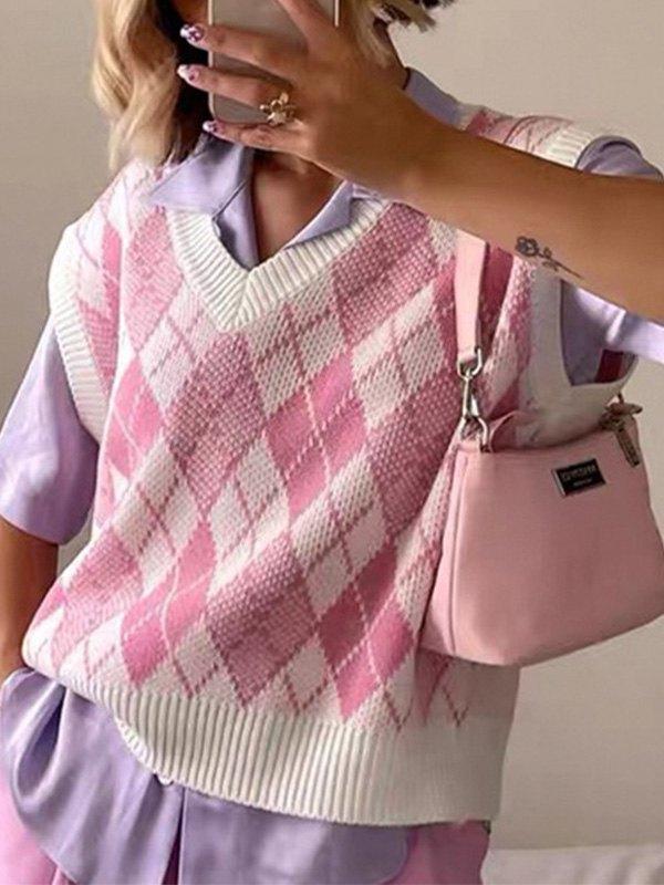 Pastel Argyle Knit Sweater Vest - Pink M