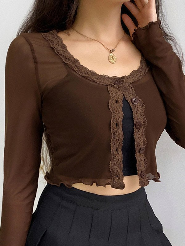 Mesh Long Sleeve Button Crop Top -