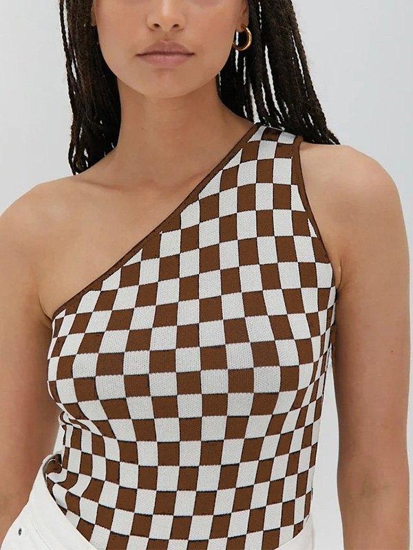 One Shoulder Checkered Crop Sweater Vest -