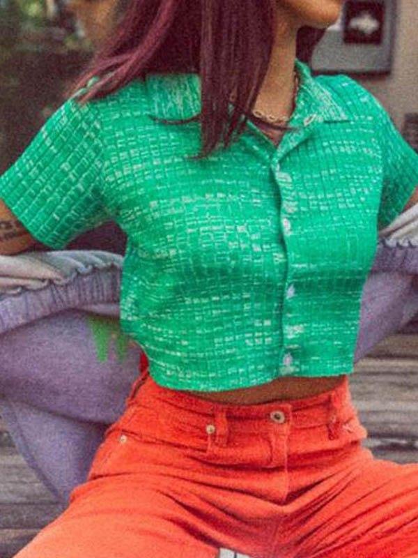 Short Sleeve Knit Crop Blouse -