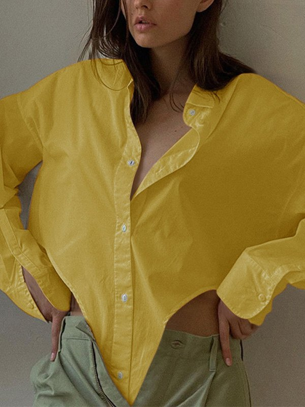 Irregular Long Sleeve Blouse -