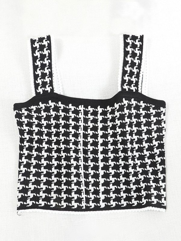 Houndstooth Knit Crop Tank Top -