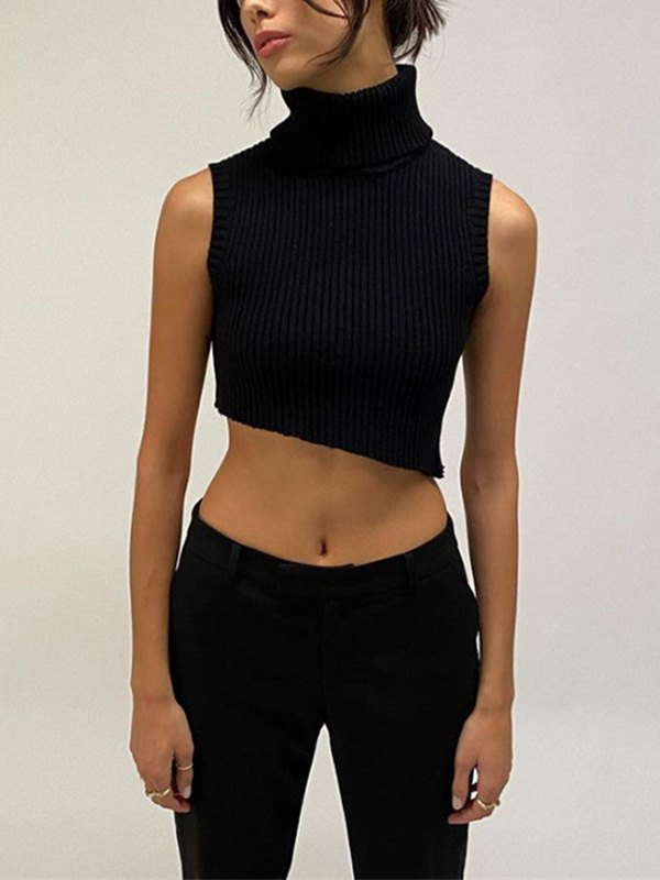 High Neck Crop Sweater Vest - Black S