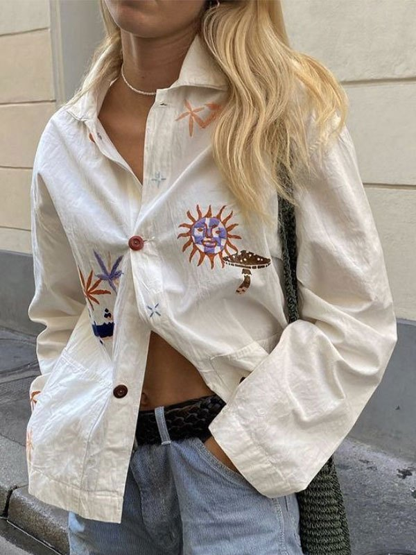 Embroidery Long Sleeve Button Blouse - White M