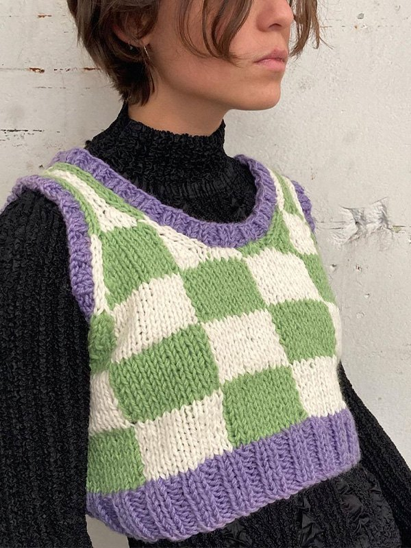 Contrast Checkered Crop Sweater Vest - Green S