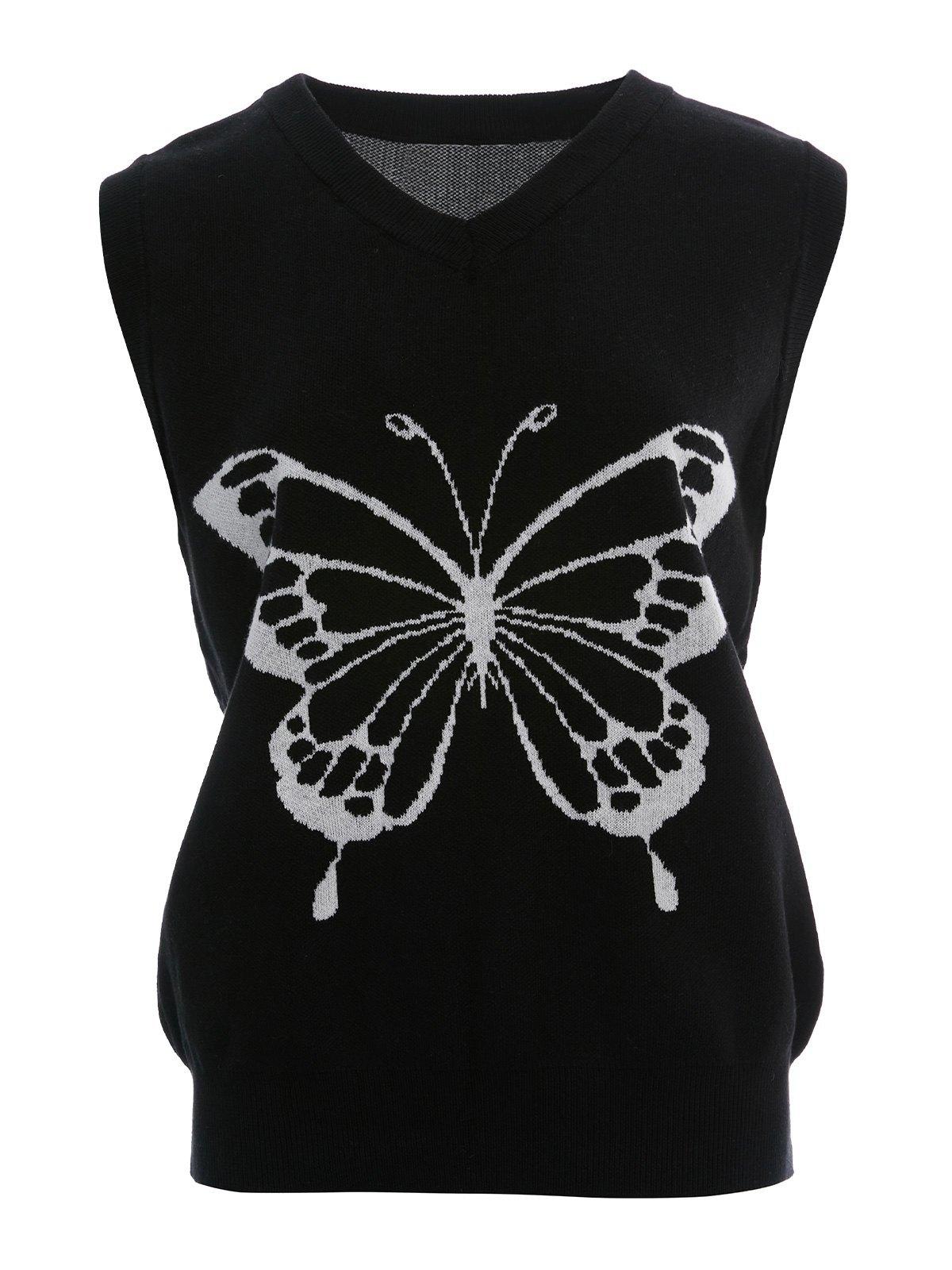 Butterfly Black V-Neck Knit Vest -
