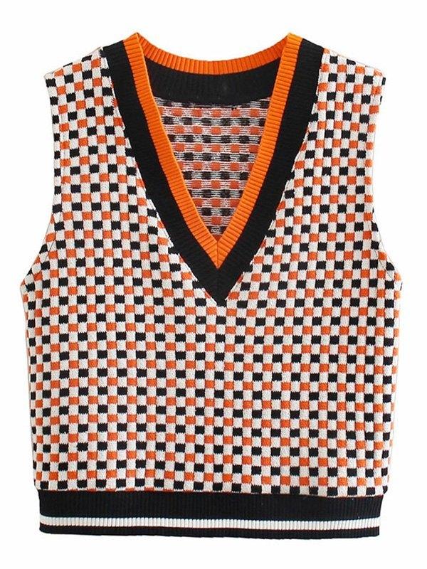 Colorblock Checkerboard knit Vest - Mixcolor L