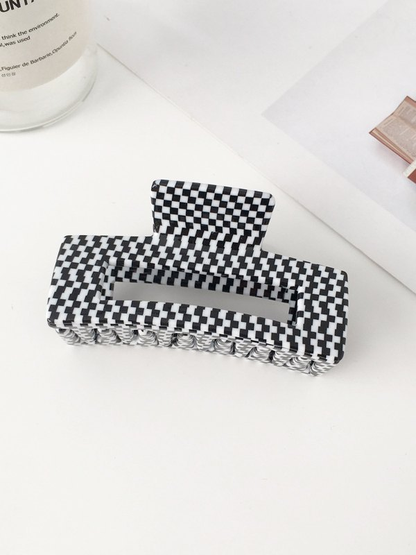 Houndstooth Rectangle Hair Clip -