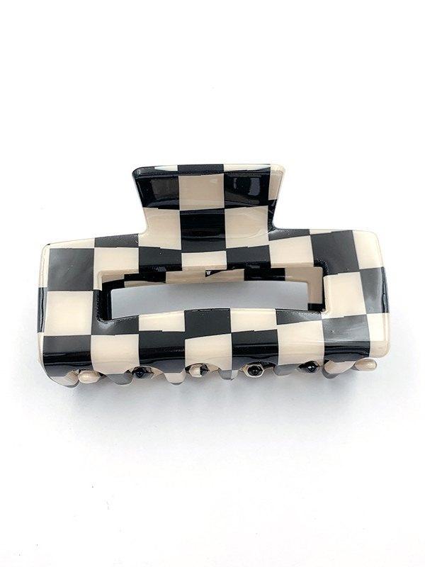 Checkerboard Rectangle Hair Clip -