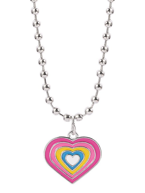Colorblock Heart Necklace -