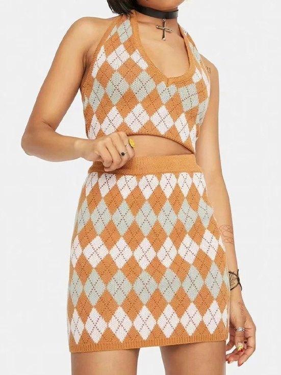 Argyle Pattern Knitted Set -
