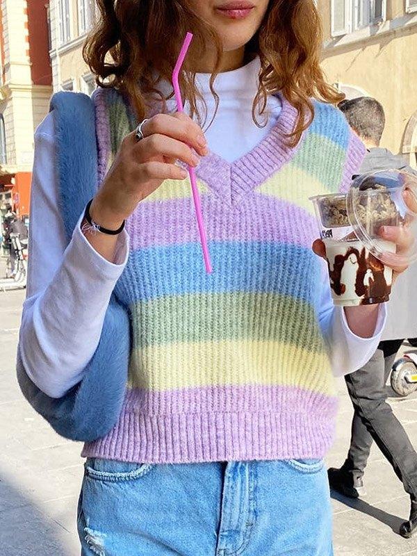 V Neck Striped Crop Sweater Vest -