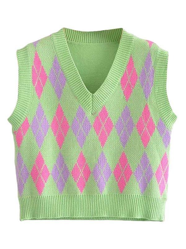 Argyle Crop Sweater Vest -