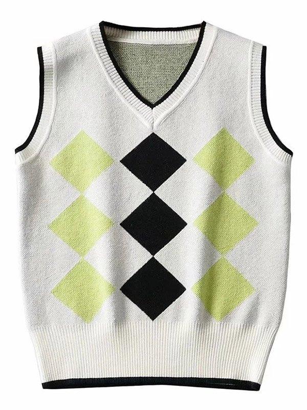 Argyle Contrast Knit Vest -