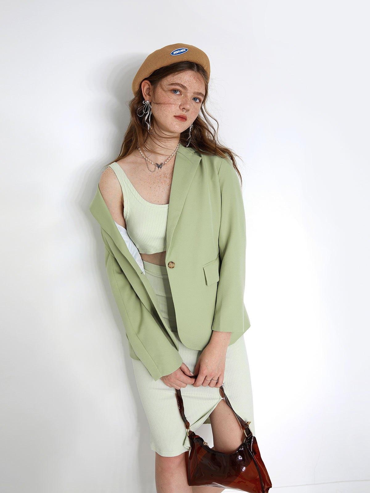 Long Sleeve Buttoned Blazer - Sorbet Lime Green L