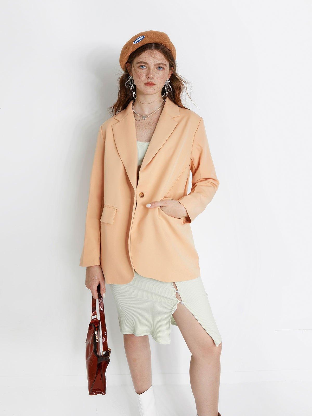 Long Sleeve Buttoned Blazer - Beige S