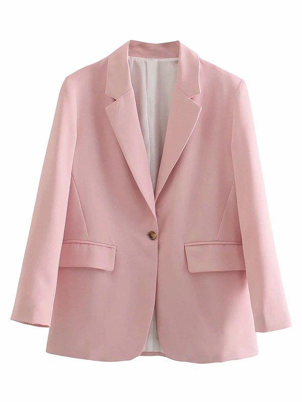 Long Sleeve Buttoned Blazer - Pink M