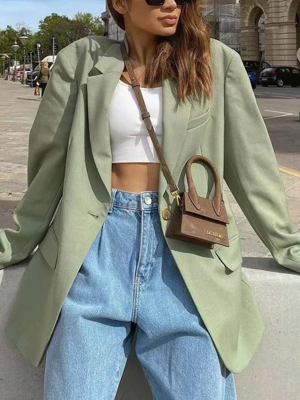 Long Sleeve Buttoned Blazer -