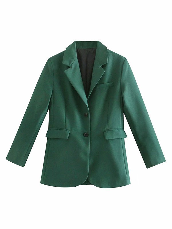 Long Sleeve Buttoned Blazer - Turquoise Green L