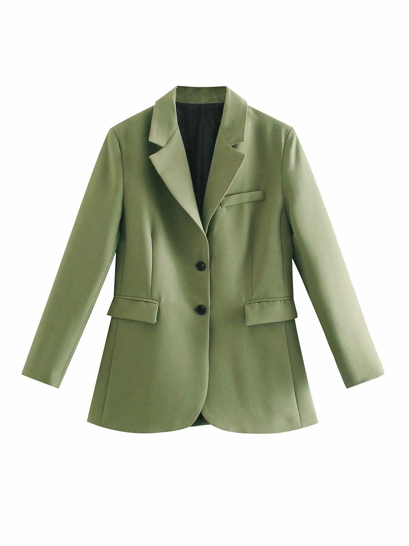 Long Sleeve Buttoned Blazer - Green L