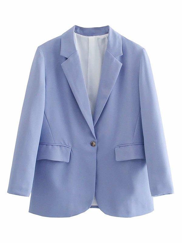 Long Sleeve Buttoned Blazer - Purple L