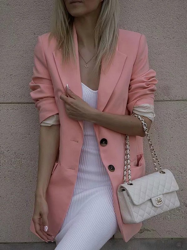 Relaxed Long Sleeve Solid Blazer -