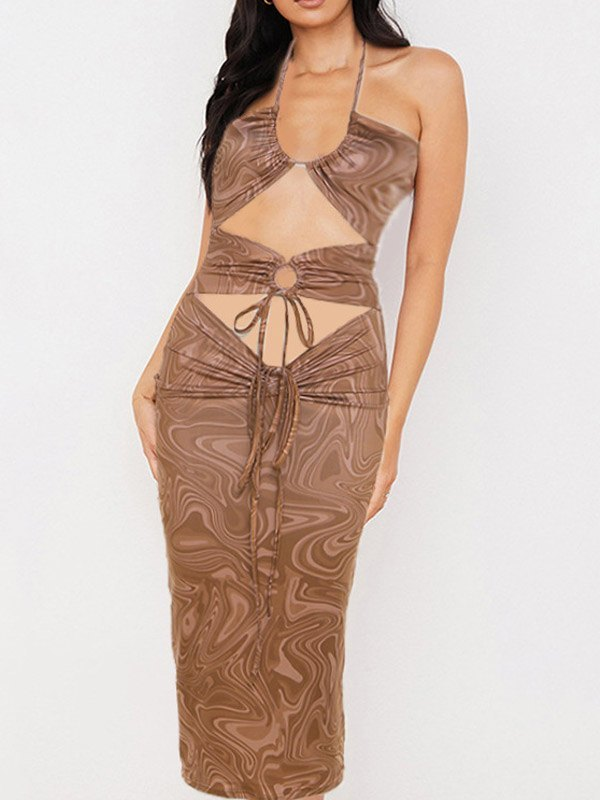 Cutout Wave Print Halter Midi Dress - Khaki L