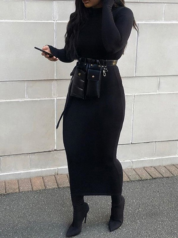 Long Sleeve Bodycon Midi Dress - Black L