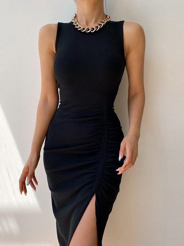 Split Rib Midi Dress - Black M