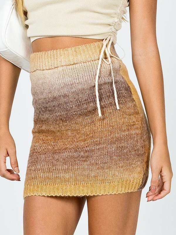 Woolen Ombre Mini Skirt -