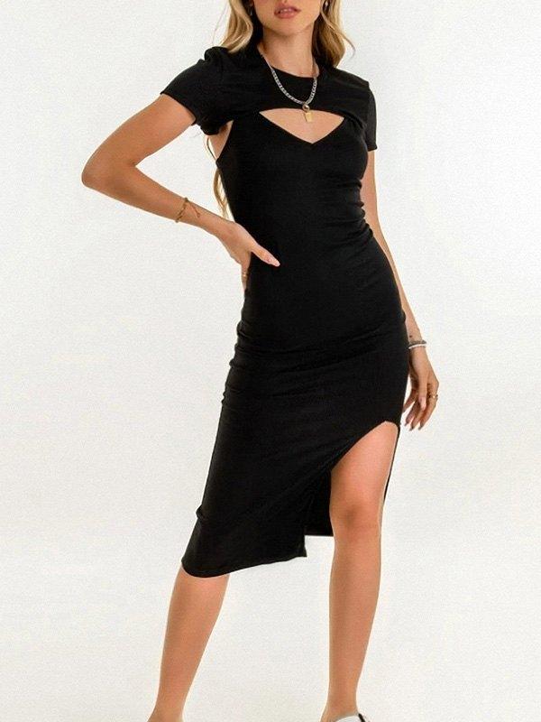 Detachable Rib Slit Midi Dress - Black L