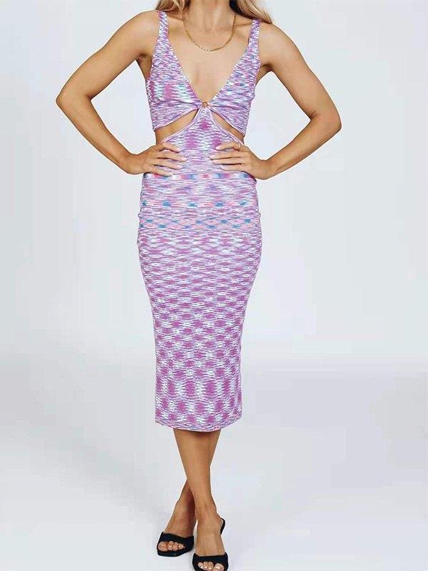 V Neck Printed Cutout Midi Dress - Purple L