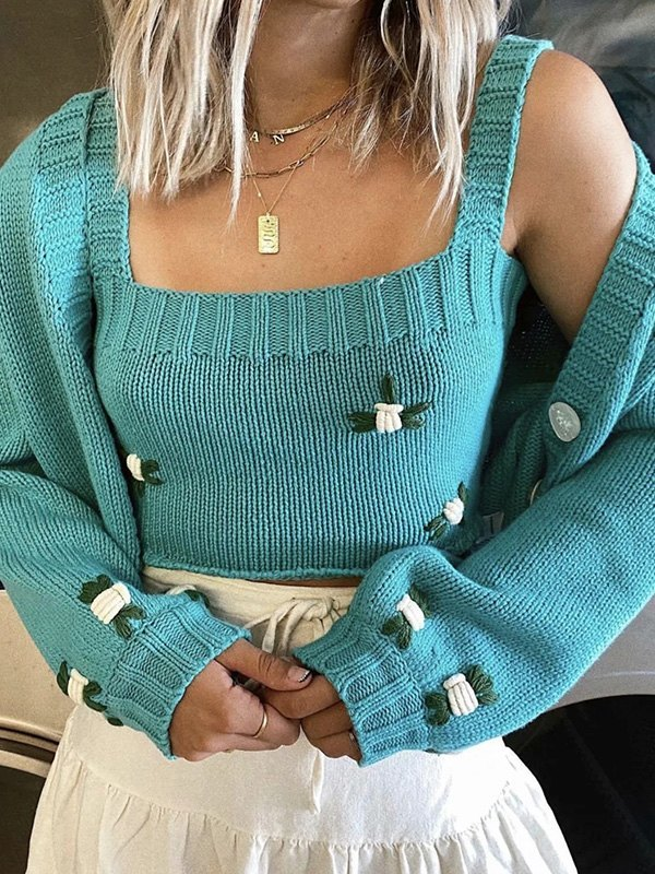 Floral Embroidery Crop Sweater Vest - Green ONE SIZE