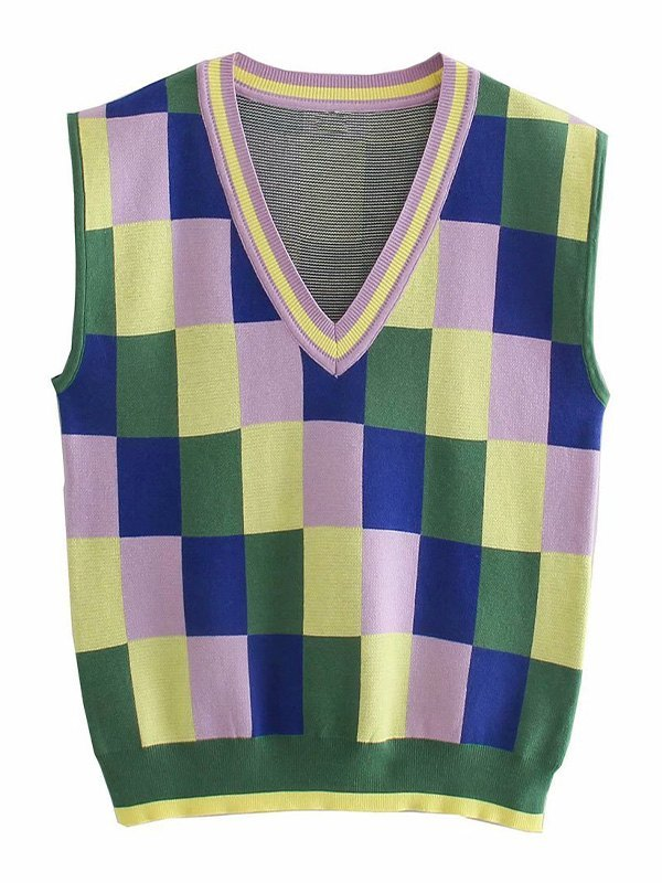 V Neck Checkered Sweater Vest - As The Picture S