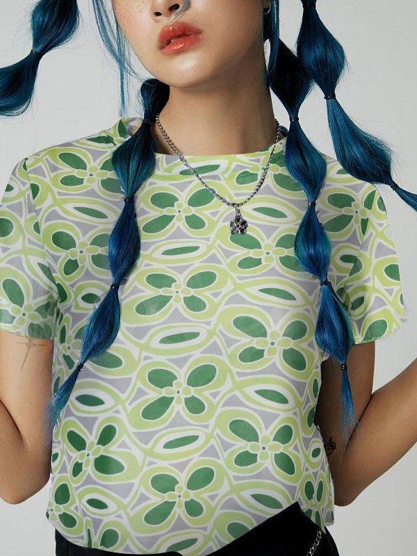 Floral Pattern Mesh Crop Top -