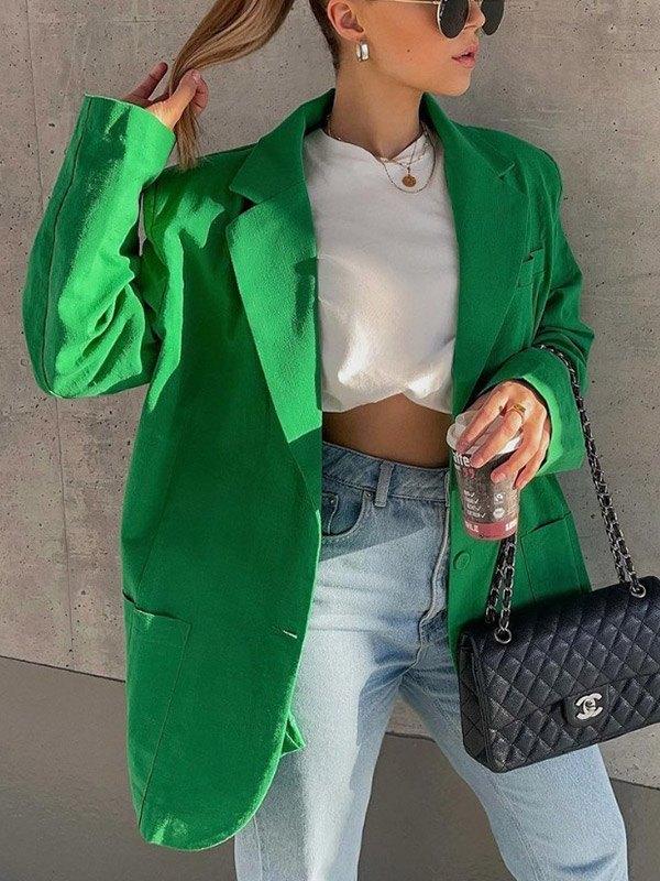 Cotton Linen Long Sleeve Blazer - Green L